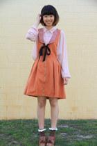light pink Forever 21 top - tawny Yesstyle dress - crimson Japan heels