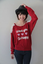 brick red knitted ingni blouse - navy glittery Ksubi jeans - dark gray FCUK hat