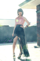 black supre skirt - black betts heels - hot pink Valleygirl blouse