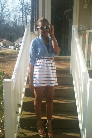 white Forever 21 skirt - white Forever 21 sunglasses - brown unknown wedges