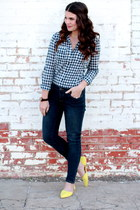 yellow Forever 21 shoes - Forever 21 jeans - gingham Forever 21 shirt