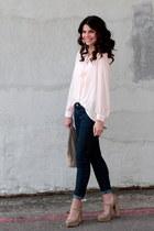 stripe Forever 21 blouse - polka dot Target jeans - H&M bag - Forever 21 heels
