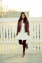 white Forever 21 dress - leather jacket - Anthropologie necklace