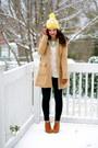Camel-tulle-coat-skinnies-gap-jeans-pom-pom-beanie-gap-hat