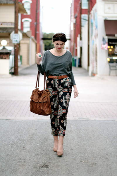 brown Target bag - grey cotton on top - tribal riffraff pants