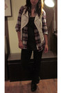 Brick-red-h-m-shirt-dark-gray-h-m-top-white-zara-vest
