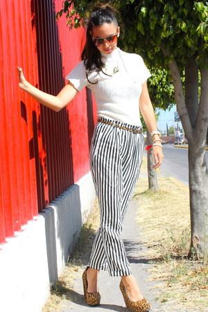 strips Zara pants - animal print Aldo heels