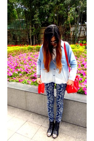 blue patterned Forever 21 pants - light blue denim shirt Mango shirt