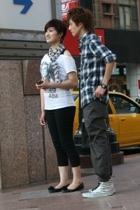 shirt - - scarf - pants - Vans shoes