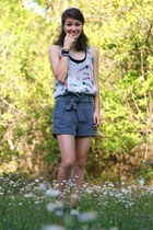 heather gray American Eagle shorts - silver chiffon Topshop blouse - charcoal gr
