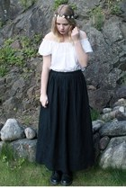 black Zara skirt - black doc martens boots - white Accessorize accessories