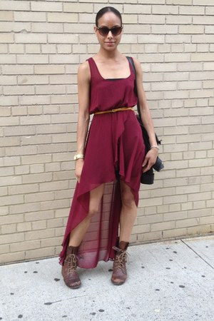 high-low LF dress - scheyelles boots - Foley & Corina bag