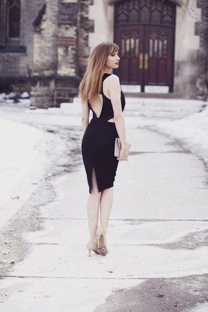 black Whitney Eve Port dress - Jessica Jensen bag
