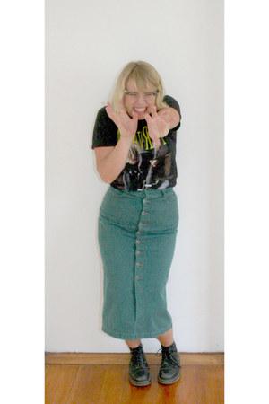 black vintage Dr Martens boots - black Nirvana shirt - teal vintage skirt