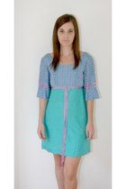 turquoise blue thrifted vintage dress - light purple thrifted vintage dress