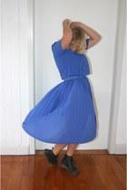 blue vintage dress - black vintage Dr Martens boots