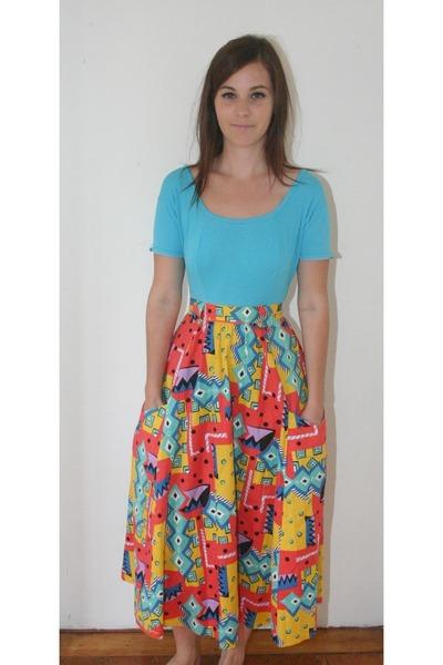 red vintage skirt - blue low back vintage bodysuit