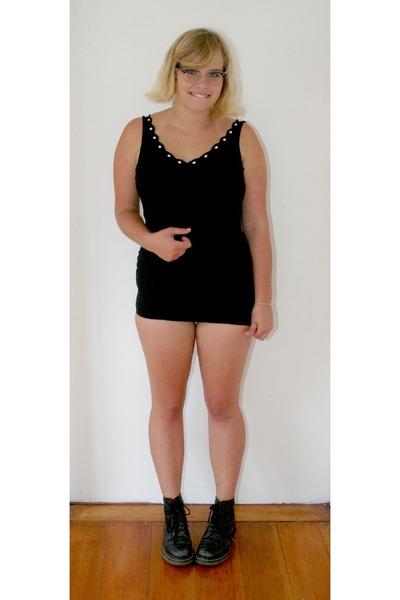 black grunge Dr Martens boots - black thrifted vintage swimwear