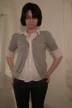 blue Maz Rave jeans - silver Forever 21 cardigan - white Old Navy blouse