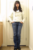 black Sketchers shoes - blue YMI jeans - white papaya jacket - white long-sleeve