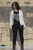 brown Forever 21 boots - white papaya jacket - black H&M leggings