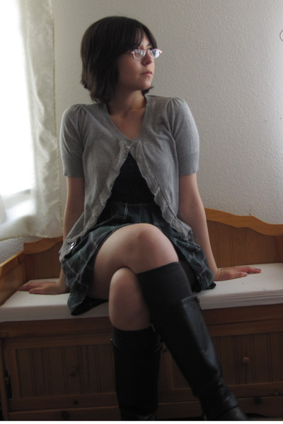 black engineer Sechuna boots - green plaid Forever 21 dress - gray H&M socks - s