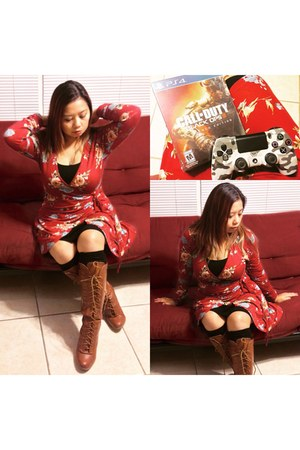brown Accessorize boots - brick red dress