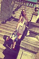 dress - bag - diy vest - BLANCO sandals