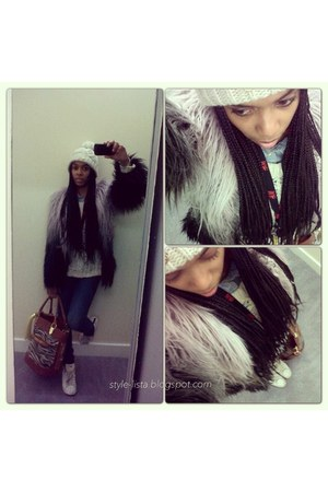 faux fur Topshop coat - skinny Zara jeans - H&M hat - riverisland bag