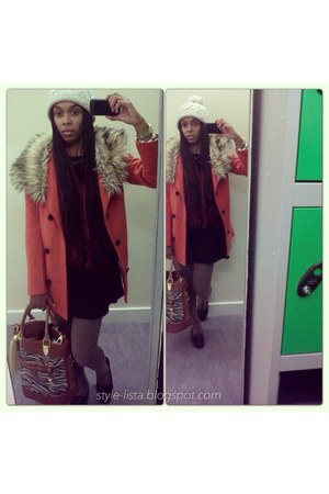 sammydress coat - sammydress dress - H&M hat - riverisland bag