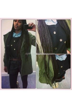 H&M hat - sammydress coat - H&M shirt - H&M shorts - H&M belt - H&M jumper