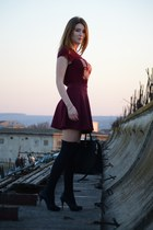 crimson Stradivarius skirt - crimson pull&bear top - black Zara heels