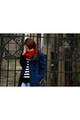 Knitted-grandmas-scarf-navy-blue-house-coat-skinny-zara-jeans