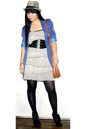 Simones Closet blazer - thrifted dress - Tomato belt - landmark stockings - onli