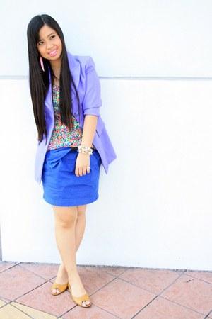 thrifted vintage blazer - floral online find blouse - random brand skirt