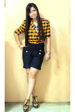 yellow gingham bought online blazer - black SM shorts - tawny leopard bought onl
