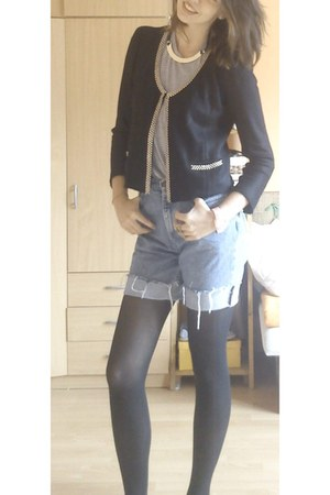 black cardigan - blue shorts - black bracelet
