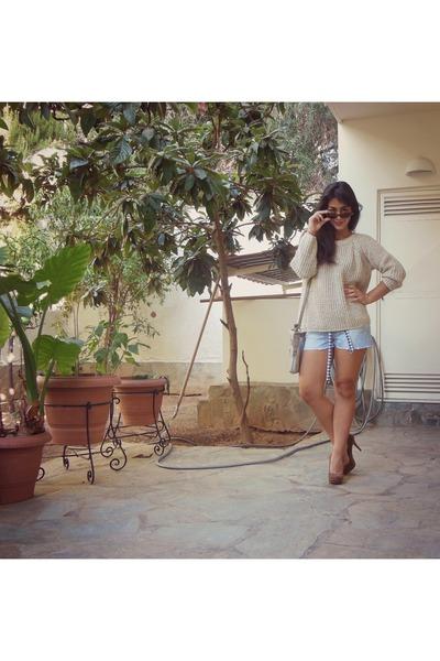 cream Zara sweater - heather gray Hunter bag - sky blue Zara shorts