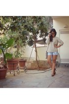 cream Zara sweater - heather gray Hunter bag - sky blue Zara shorts
