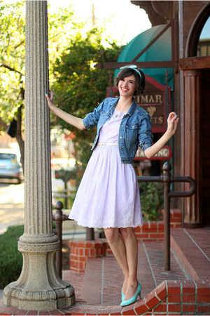 light purple vintage dress - teal vintage jacket