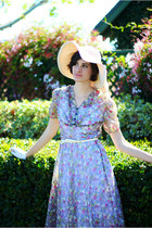 ivory GreenWood Store hat - periwinkle vintage dress - cream Forever 21 belt