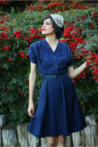 navy vintage dress - tan Eye Heart Me hat