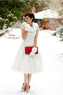 White-vintage-dress-white-target-scarf-ruby-red-vintage-purse