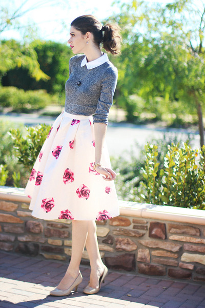 cream romwe skirt - heather gray romwe blouse