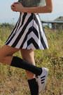 Blue-levis-blazer-black-customized-adidas-sneakers-white-skater-motel-skirt