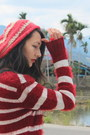 Red-beanie-hat-red-selfmade-sweater-white-sequined-self-made-sweater