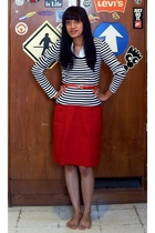 thrifted skirt - Matahari blouse - thrifted shirt - Old n New belt