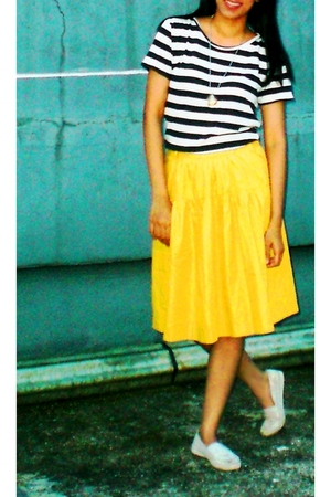 thrifted t-shirt - thrifted skirt - Local store shoes - museum souvenir necklace