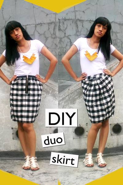 random brand t-shirt - DIY skirt - DIY necklace - ITC M2 shoes