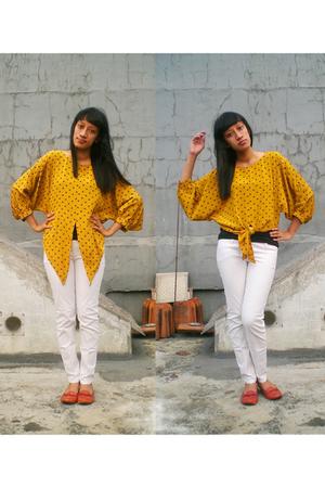 thrifted blouse - random top - melawai pants - Bata shoes